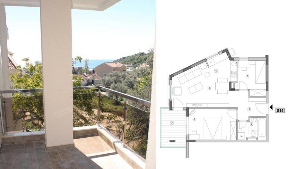 Трехкомнатная квартира в Бечичи с видом на море